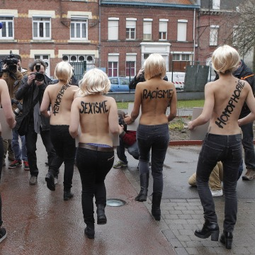 Image: FEMEN activists in Henin-Beaumont, France