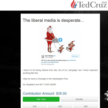 Image: Ted Cruz fundraising appeal over Washington Post animation