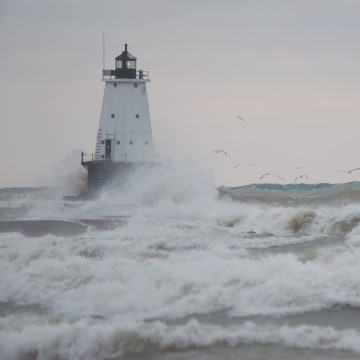 IMAGE: Wind-whipped waves in Ludington, Michigan