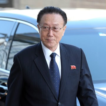 Image: Kim Yang-gon, pictured here in October 2014, died in a car accident Wednesday, according to state media.