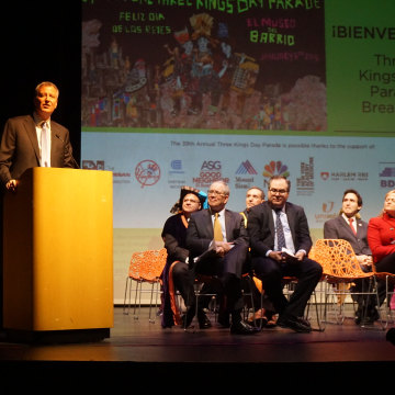 New York City Mayor Bill de Blasio speaking at el Museo del Barrio