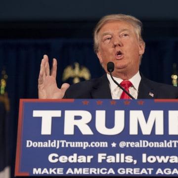 Image: U.S. Republican presidential candidate Trump speaks at a campaign event at University of Northern Iowa in Cedar Falls, Iowa