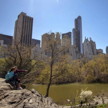 Image: Emma and Jordan from Portland, Maine, enjoy the view of the Manhattan skyline from Central Park in New York