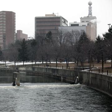 Image: The Flint River flows in downtown in Flint