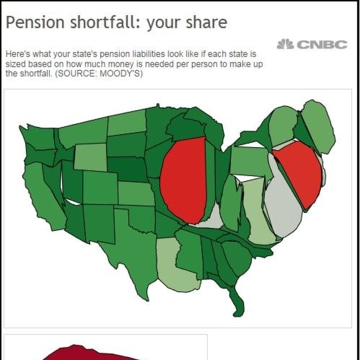 Map: States sized according to their pension liability instead of land area.