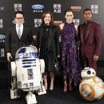 Image: Director J.J. Abrams, producer Kathleen Kennedy, actress Daisy Ridley and actor John Boyega