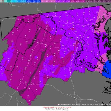 Image: Forecast potential maximum snowfall