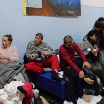 Image: Survivors on the island of Kalolimnos after Friday's rescue operation