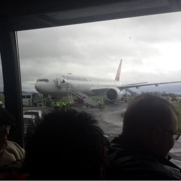 IMAGE: Turkish Airlines flight 34 sits at Ireland's Shannon airport after a security scare.