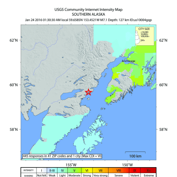 Image: 7.1 magnitude earthquake south Alaska
