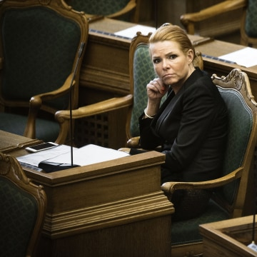 Image: Denmark's Minister of Immigration and Integration Inger Stojberg listens to the debate in the Danish Parliament