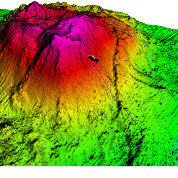 "Image: 3D sonar image of the underwater volcano, adding an icon to show the location of the lost ""Towfish"""