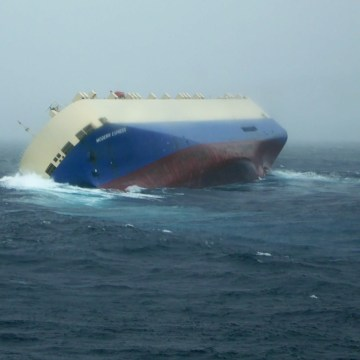 Image: A handout picture from the French Navy shows the Modern Express, without crew, drifting in the Bay of Biscay.
