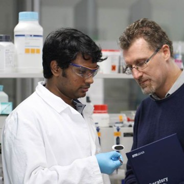 Image: Scientist Raffaele Mezzenga and a researcher in their lab at ETH Zurich university in Switzerland