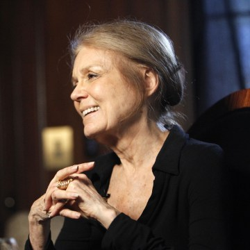 Steinem smiles while she is being interviewed in Beverly Hills