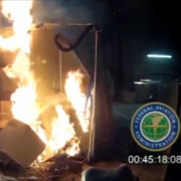 IMAGE: FAA test of lithium ion battery safety