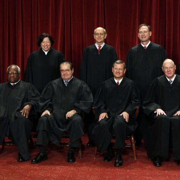 Image: Justices of the U.S. Supreme Court pose for formal group photo in the East Conference Room in Washington