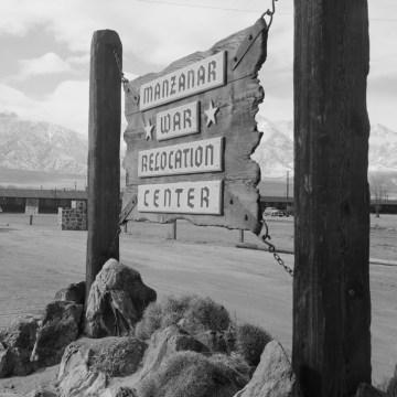 Image: Entrance to Manzanar at the Manzanar Relocation Center in California