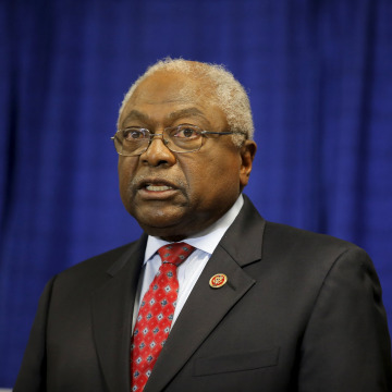 Image: U.S. Representative Jim Clyburn speaks at a press conference held at Allen University in Columbia