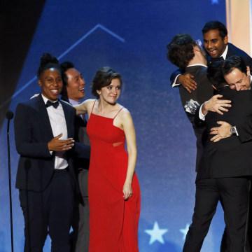 Image: Aziz Ansari celebrates during the 21st Annual Critics' Choice Awards in Santa Monica