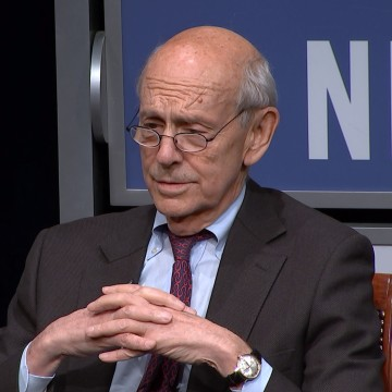 Image: Pete Williams interviews Justice Stephen Breyer