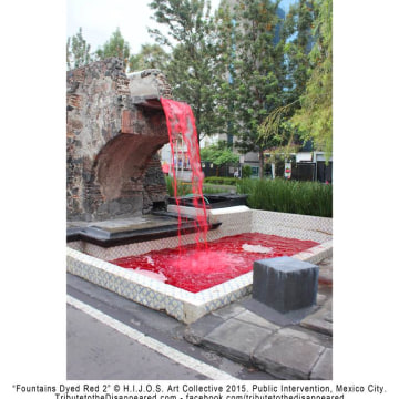 """""""Fountains Dyed Red 2"""" by the H.I.J.O.S. Art Collective."""