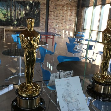 """The trophy case in the Pixar studio lobby. """"Inside Out"""" is nominated for two Oscars, for best animated feature and best original screenplay."""
