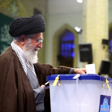 Image: Ayatollah Ali Khamenei votes on Feb. 26, 2016