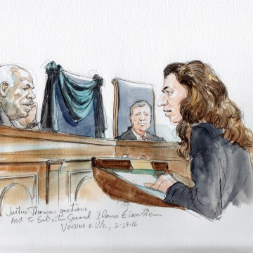 Image: Justice Thomas asks a question during arguments