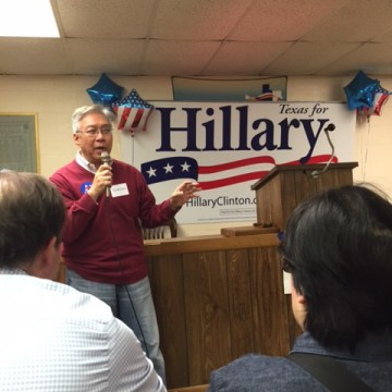 Gordon Quan campaigns for Hillary Clinton