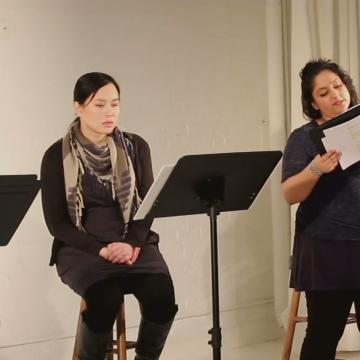 """Ms. Oriental"" reading: Ivory Aquino, Anjili Pal, Alyssa Kim"