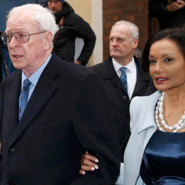 Image: Actor Michael Caine and his wife Shakira arrive at St Bride's church for a service to celebrate the wedding between media Mogul Rupert Murdoch and former supermodel Jerry Hall, in London