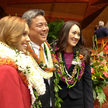 On the right, Hawaii state Rep. Beth Fukumoto Chang, a Republican, with Rep. Mark Takai, a Democrat, center.