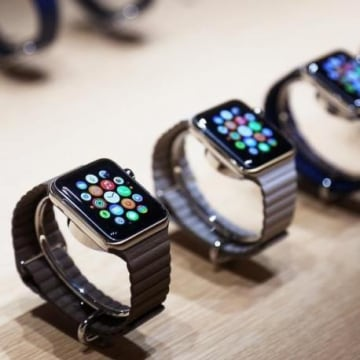 Apple watches are displayed following an Apple event in San Francisco