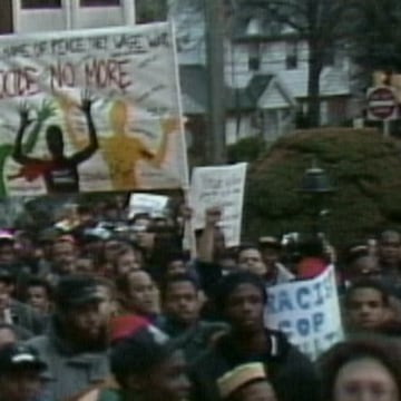 Image: Protesters march following the death of Phillip Pannell in teaneck, New Jersey in 1990.