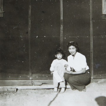 Satsuki Ina with her mother at Tule Lake