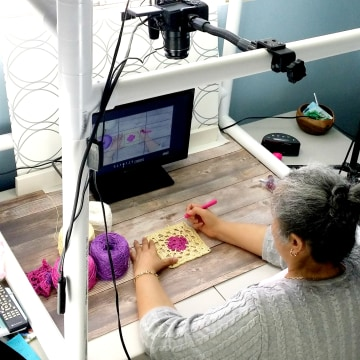 Yolanda Soto-Lopez at work on one of her videos.
