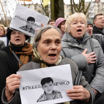Image: A rally supporting Nadiya Savchenko in Lviv, Ukraine, on March 9