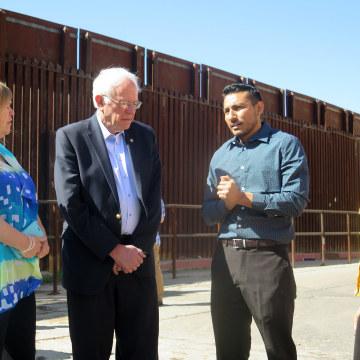 Image: Julio Zuniga, Bernie Sanders, Jane O'Meara