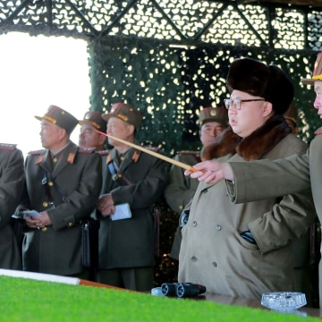Image: NNorth Korean leader Kim Jong-Un inspects military exercises in this undated handout photo.