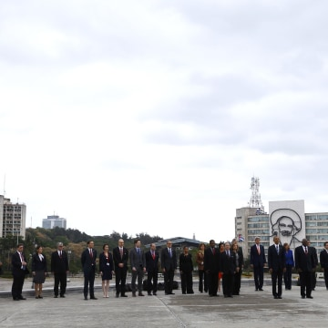 Image: U.S. President Obama attends a wreath-laying ceremony at the Jose Marti monument at Revolutionary Square in Havana