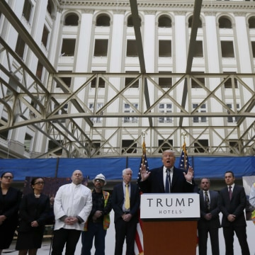 Image: Republican U.S. presidential candidate Trump speaks during news conference at Old Post Office Building in Washington