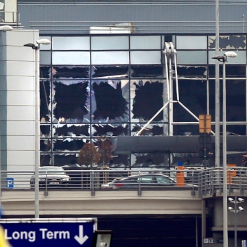 Image: Broken windows seen at the scene of explosions