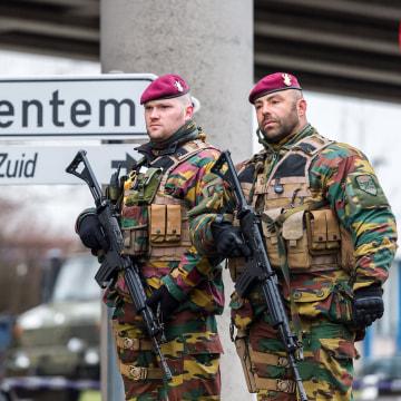 Image: Belgian Army soldiers patrol at Zaventem Airport in Brussels