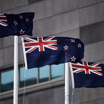Image: The current New Zealand flag flutters outside the Te Papa museum in Wellington.