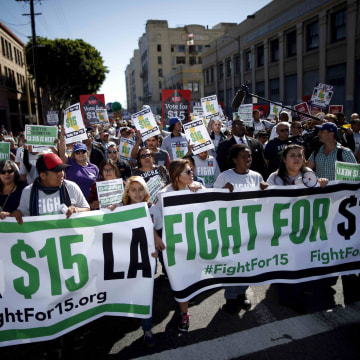Image: Fast-food workers and their supporters join a nationwide protest for higher wages and union rights in Los Angeles