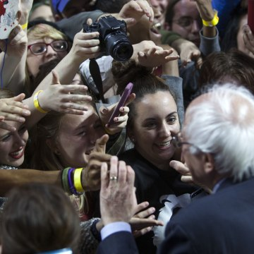 Image: Bernie Sanders Holds Campaign Rally At Temple University In Philadelphia