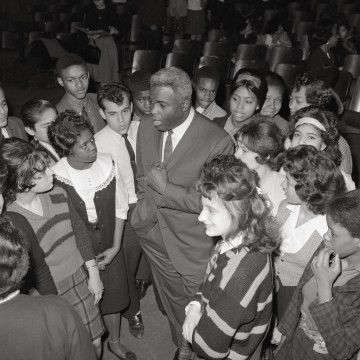 Jackie Robinson Talking to High School Children