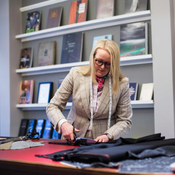 Image: British Master Tailor Kathryn Sargent at her shop on Savile Row