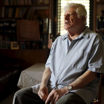 Image: Holocaust survivor Israel Loewenstein, 91, sits during an interview with Reuters at his home in Yad Hana